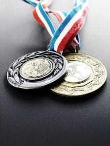 Silver and gold medals