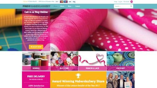 Freds Haberdashery website homepage